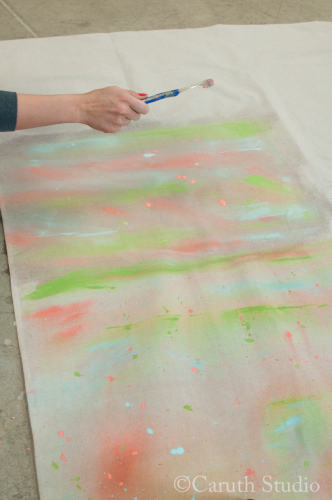 Adding splatter effects to watercolor tablecloth