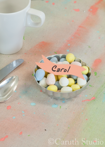 Easter candy place card on watercolor tablecloth