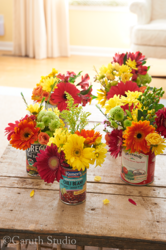 Flowers in cans