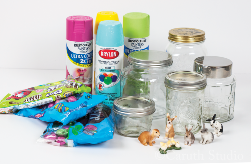 Materials for Easter bunny jars