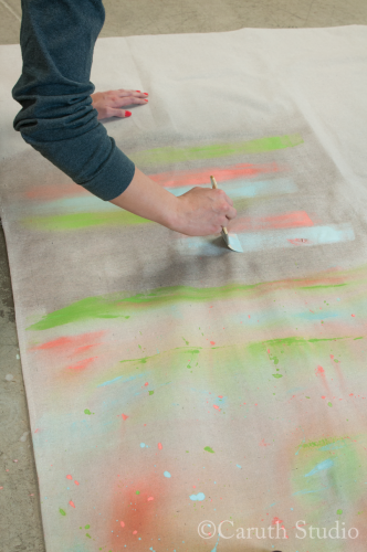 Painting drop cloth for watercolor tablecloth