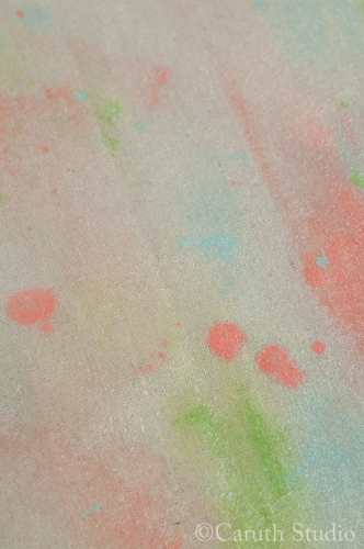 Reverse of watercolor tablecloth
