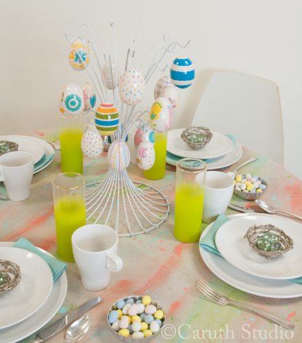 Table setting on watercolor tablecloth