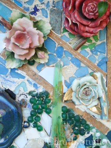 Mosaic wall mural flowers