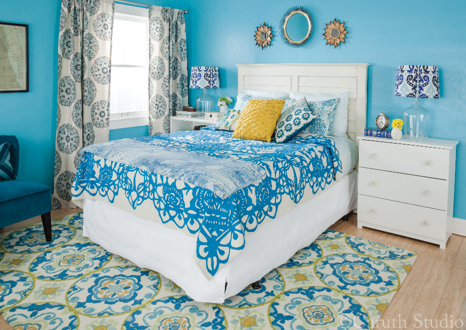 Blue bedroom makeover overall