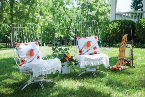 Pair of vintage lawn chairs and croquet set