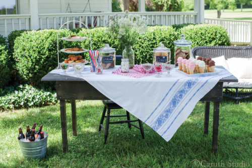 Table of ice cream and treats