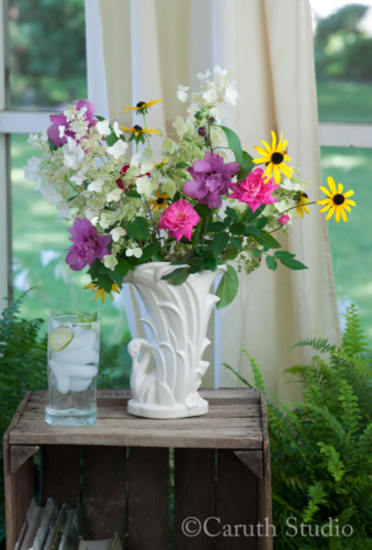 Garden bouquet on crate side table
