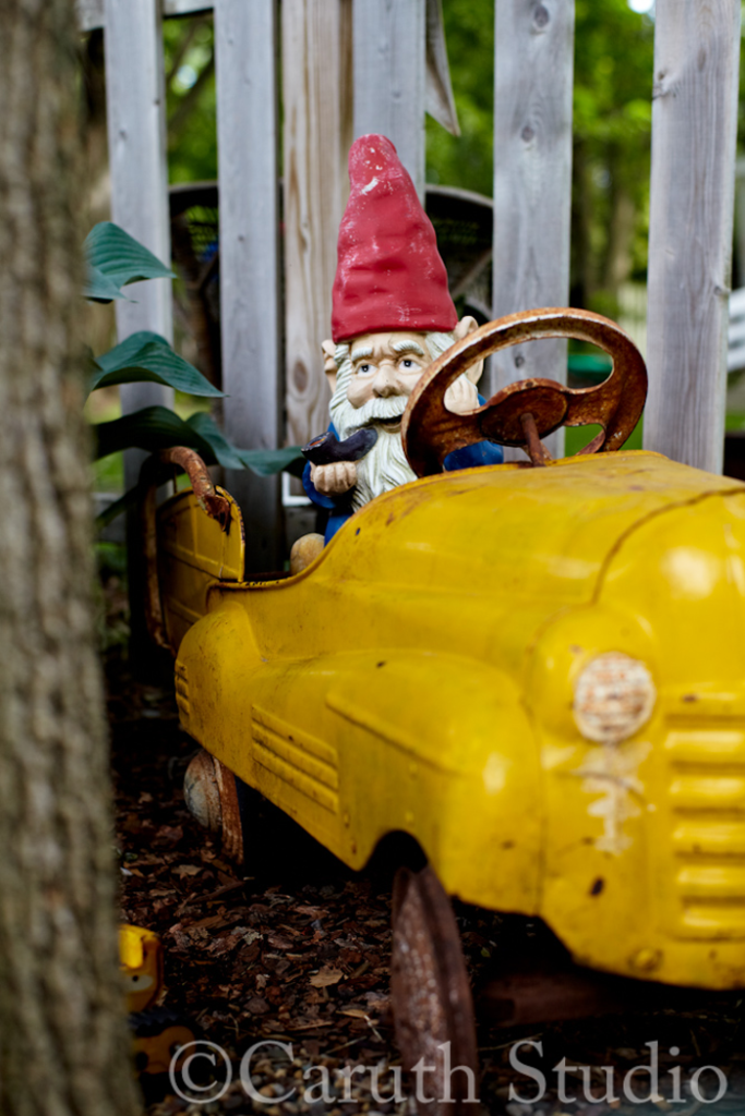 Gnome in vintage pedal car