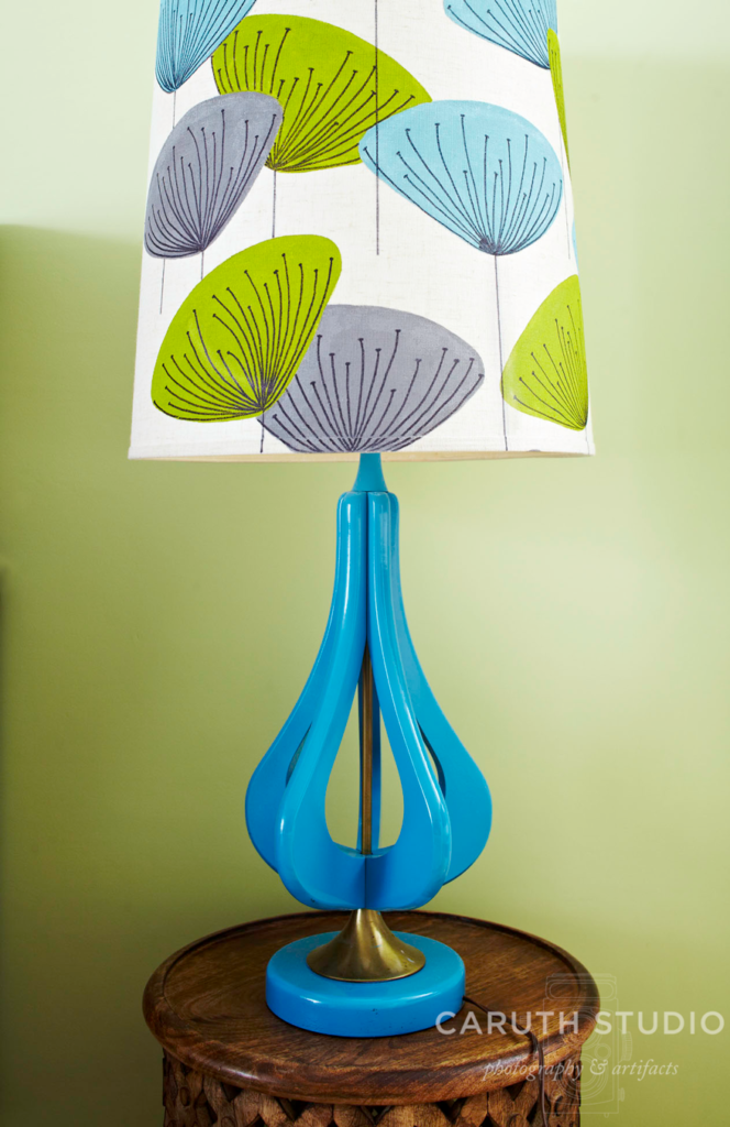 Painted lamp and shade