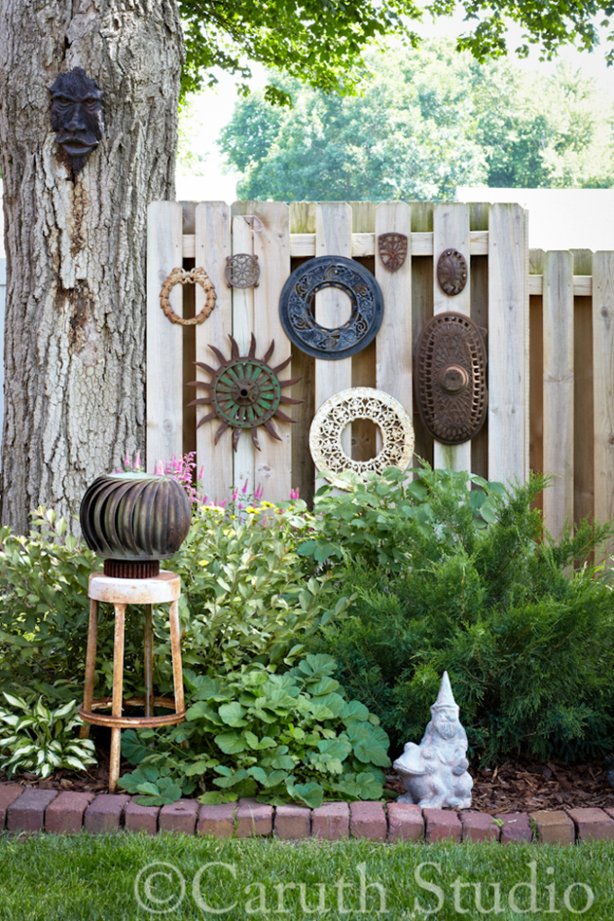 Vintage implements on fence