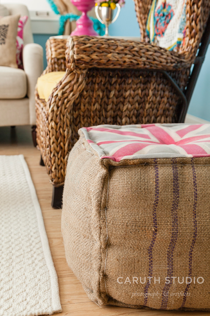 Burlap ottoman with a union jack on top