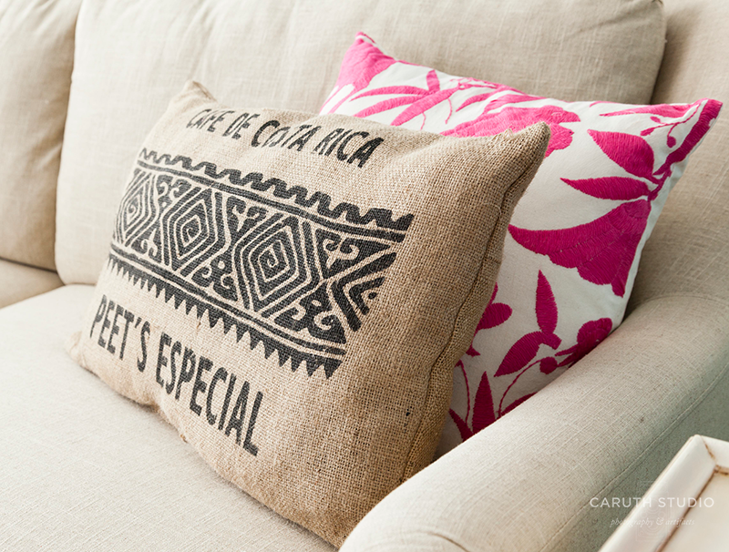 Printed burlap pillow with Jamaican coffee stamp