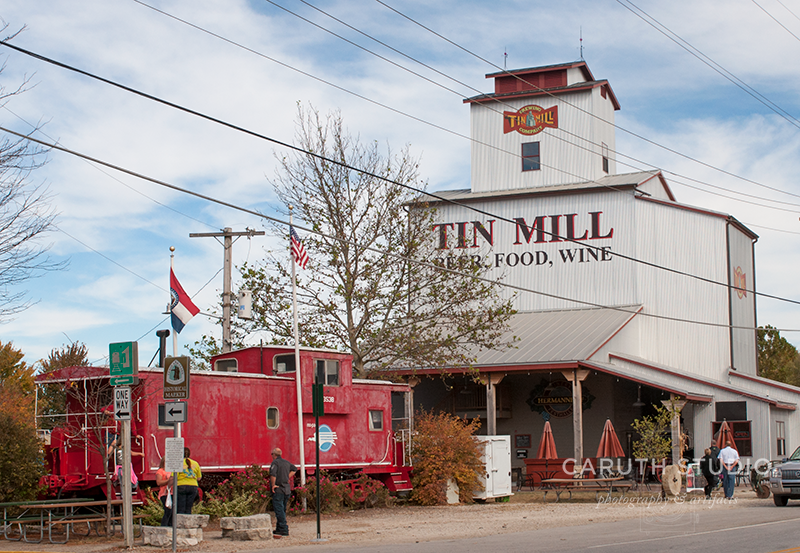Tin Mill restaurant with a red caboose out front