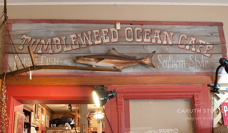 Vintage sign of blond wood with a stuffed fish with a red border