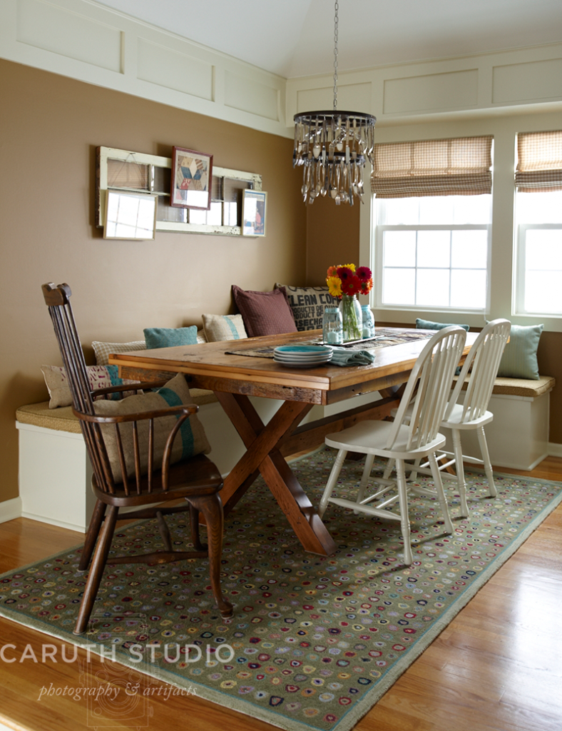 dining room after make over decorated in beige aqua and burlap accents with a farm house table and chairs