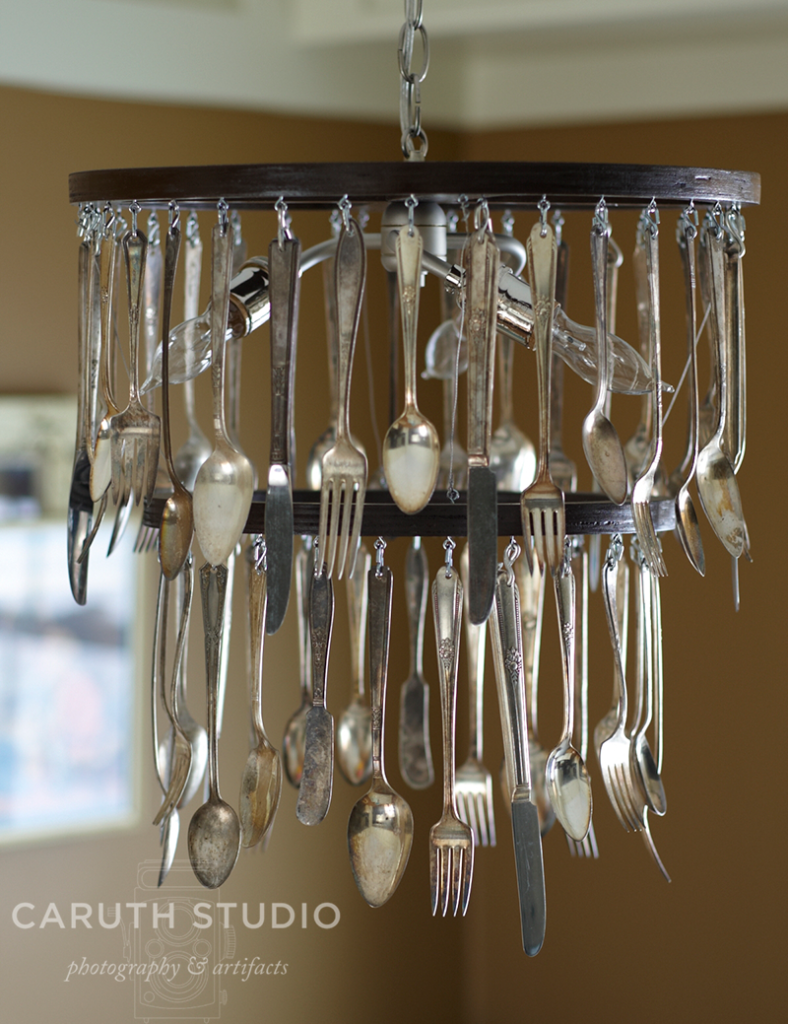 Vintage silverware chandelier with two teirs