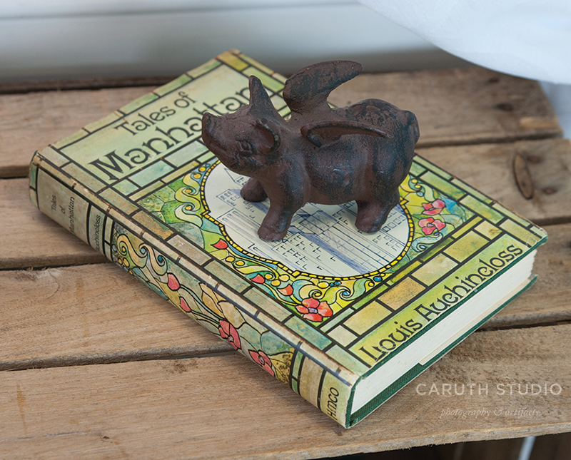 Book and pig figurine