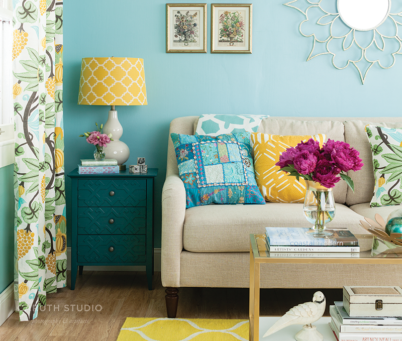 Blue, Yellow and Neutral living room detail