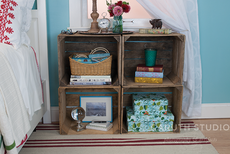 Crate nightstand with four cubbies