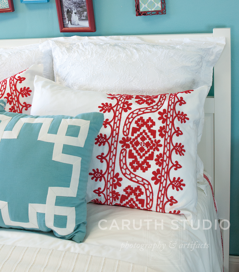 Red, white and blue Pillow detail