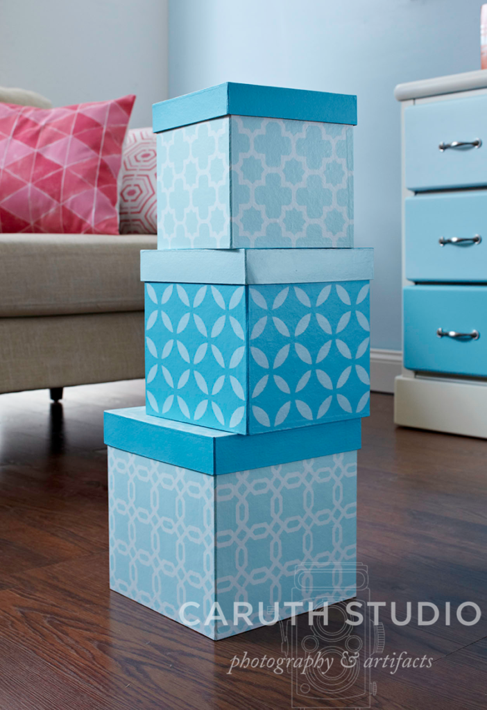 Stack of stenciled boxes