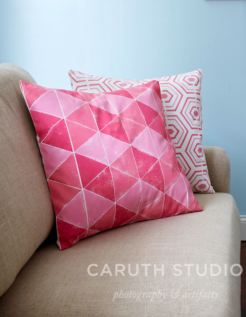 Stamped and stenciled pillows