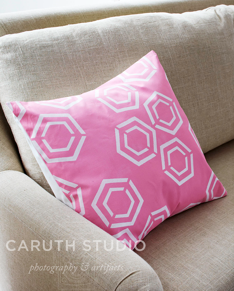 Stenciled pillow in pink