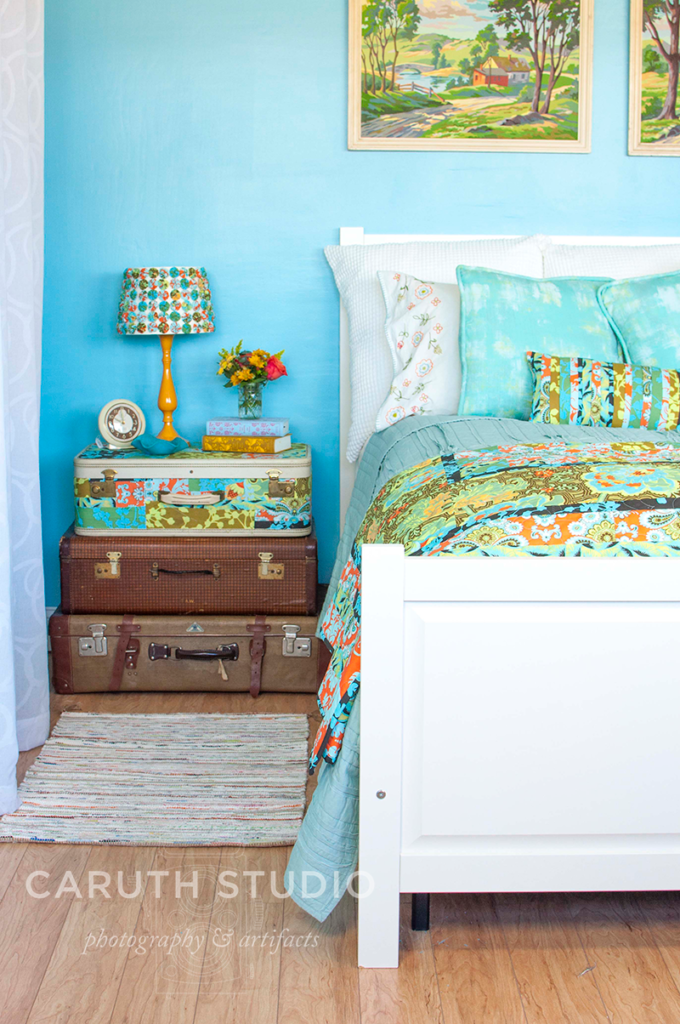 Blue floral bedroom