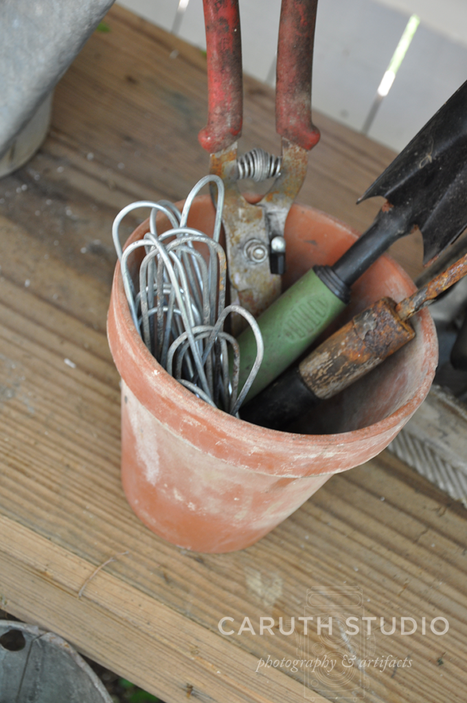 Clay pot with tools