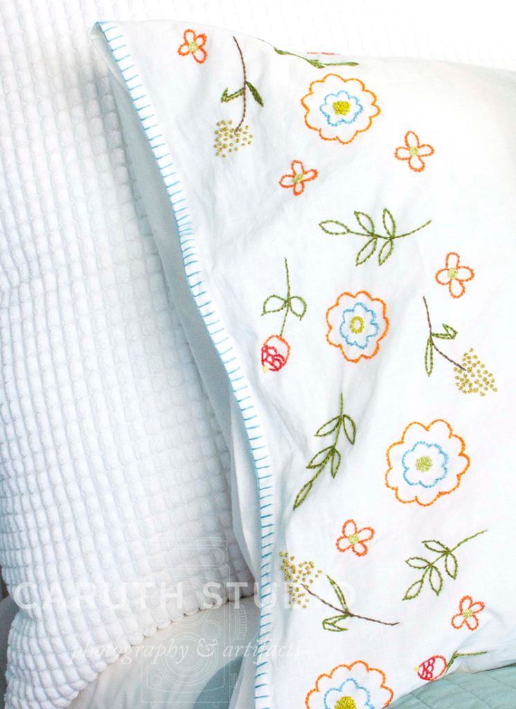 Embroidered pillowcase detail