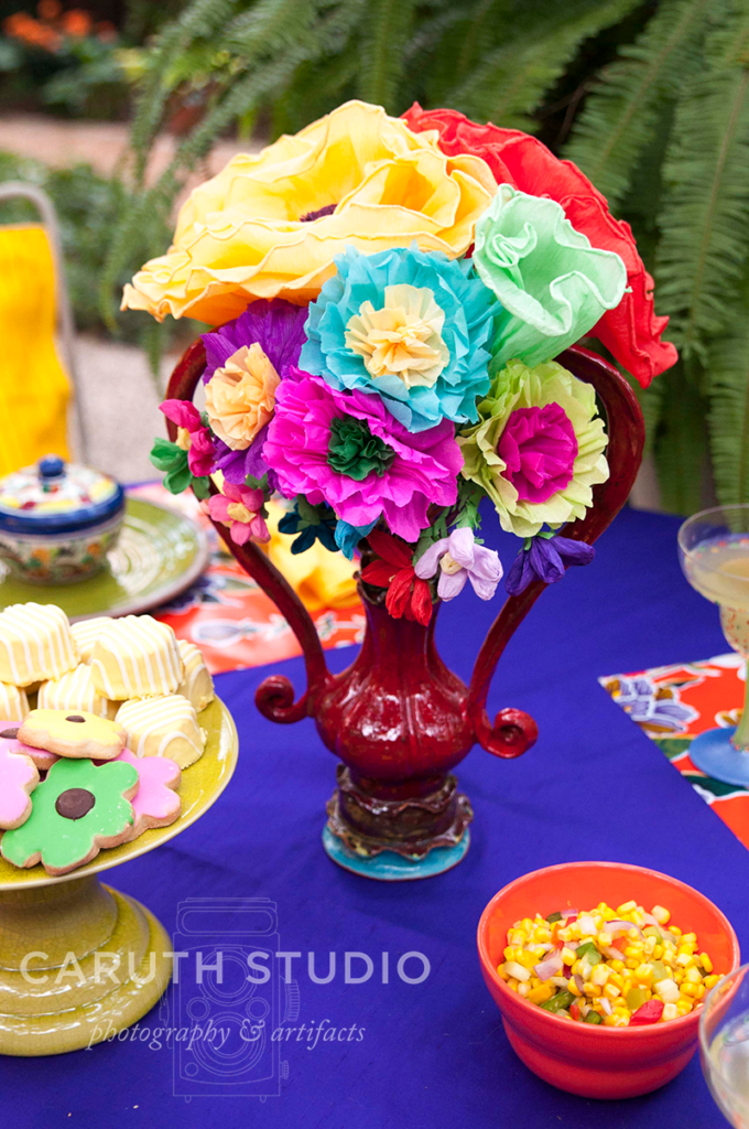 Fiesta paper flower centerpiece in a fancy vase