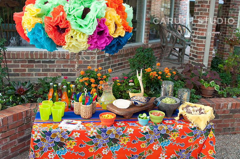 Fiesta party buffet table and decorations