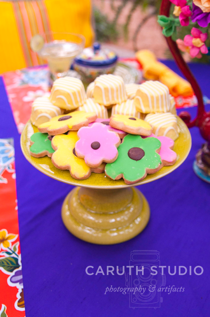 Fiesta party cookie plate with colorful flower cookies - nom nom nom
