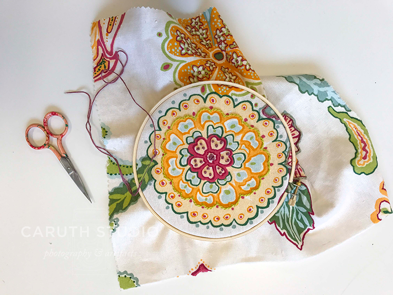 Dotted fabric flower