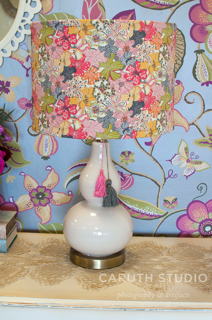 Fabric covered lampshade