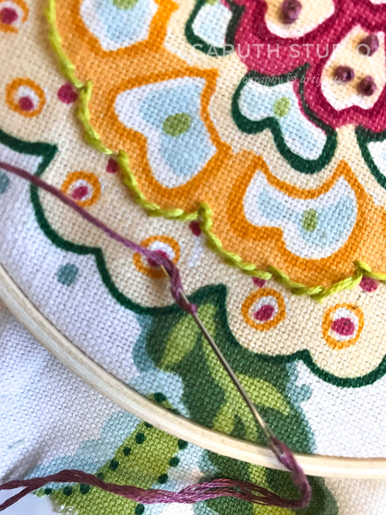 French knot step one