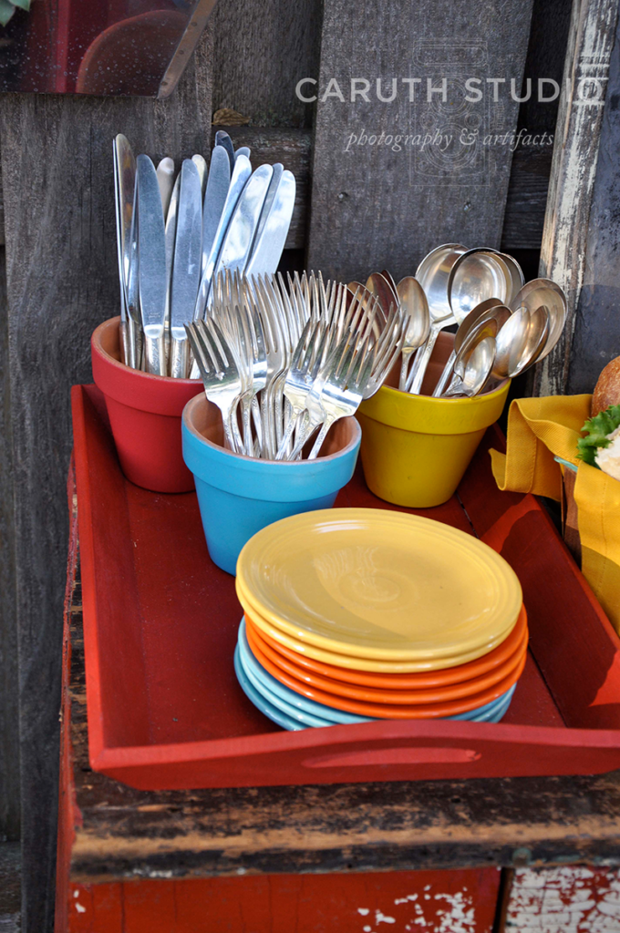Flatware in painted terracotta