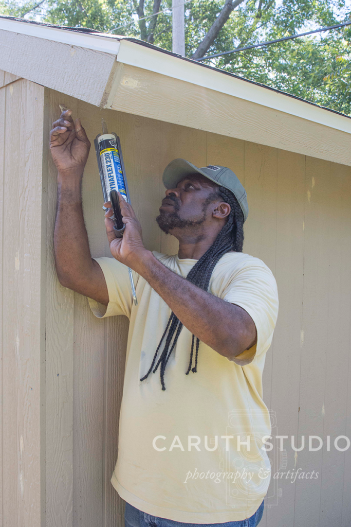 Narvas adds caulking to the shed seams