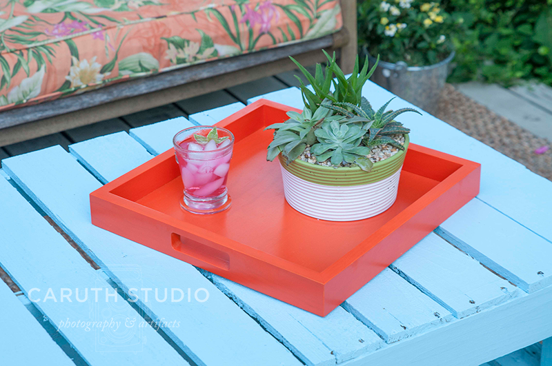 Tray and succulents on pallet