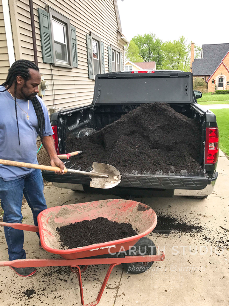Unloading the compost