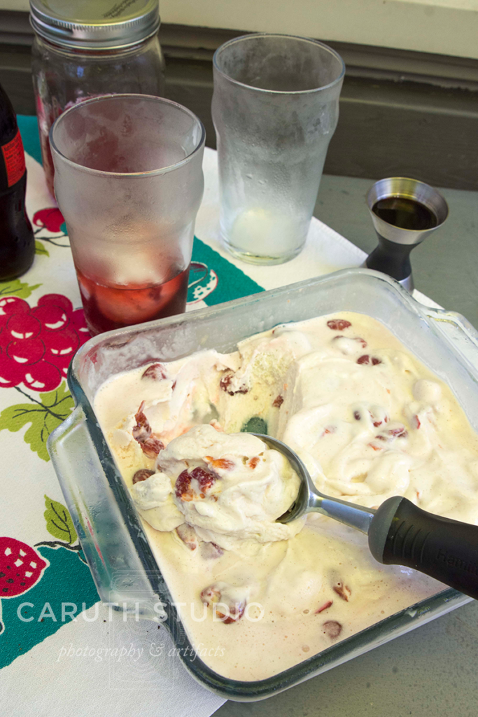 Patio party cherry-vanilla ice cream with frosted glasses