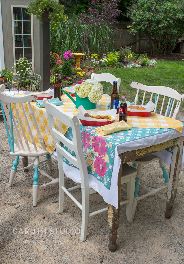 Summer patio party table setting