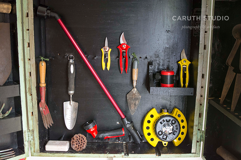 Tools inside cabinet