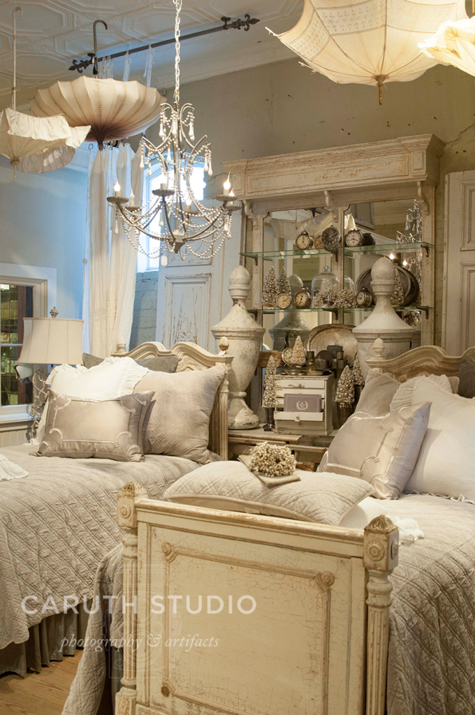 McKinney shop interior with fluffy twin beds