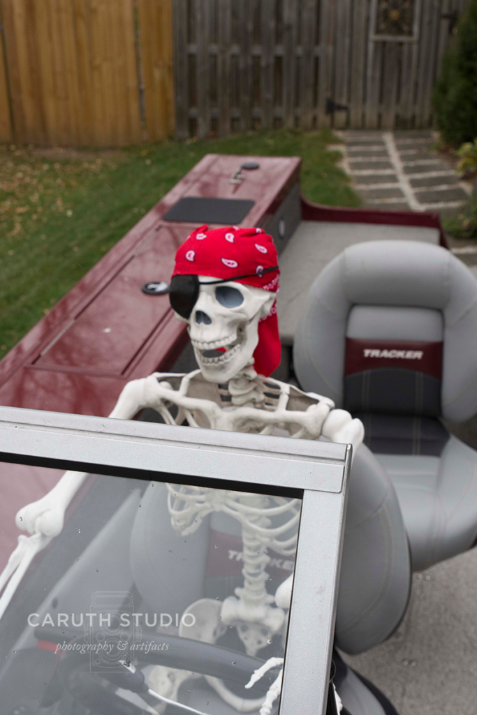 Captain Jack Skeleton at the helm - enjoying life, or the after life