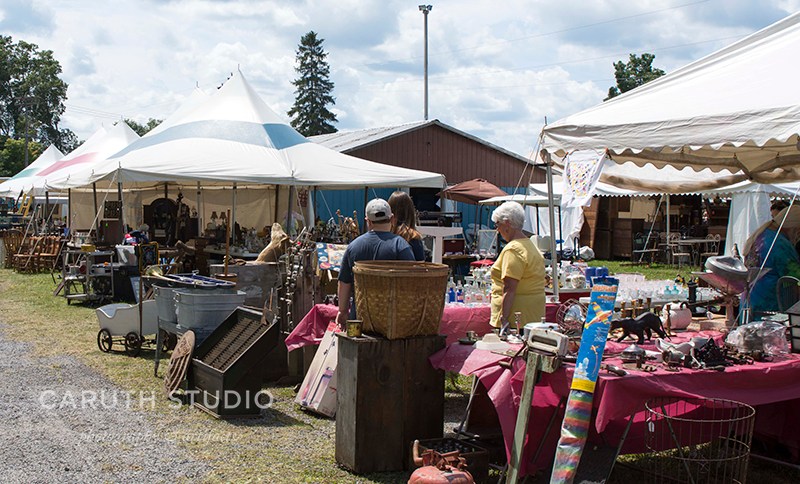 Flea Market booths and shoppers