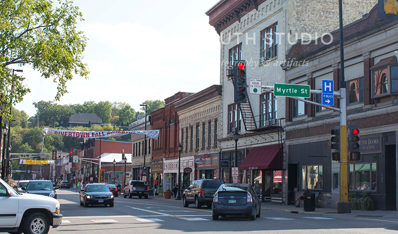 Stillwater main street with foot traffic and weekend visitors