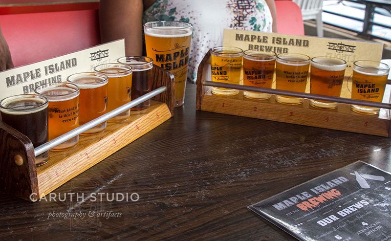 two beer flights from maple island brewery
