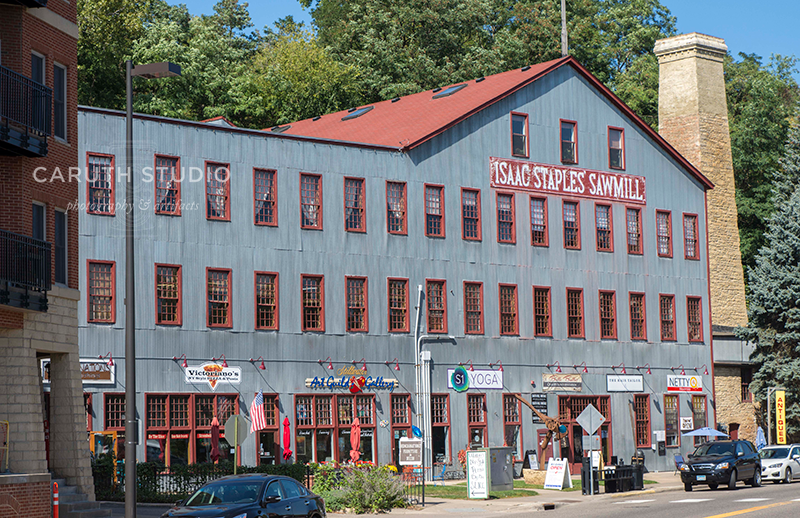old staples sawmill building converted into shops